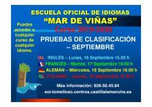CALENDARIO PRUEBAS DE CLASIFICACIÓN DE SEPTIEMBRE 2019